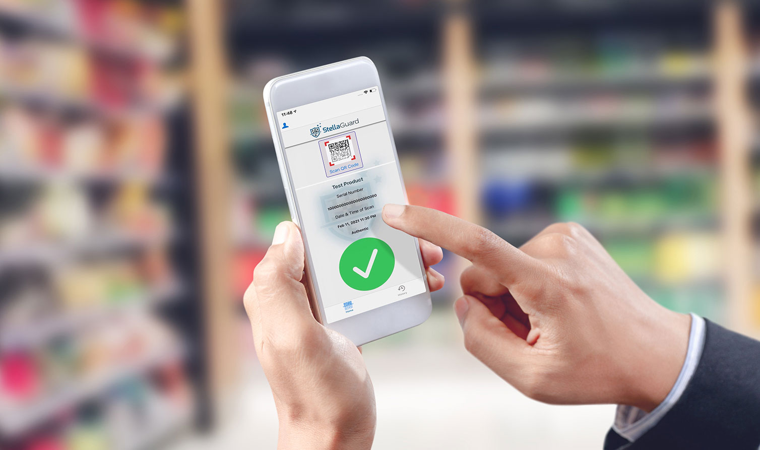 Businessman touch barcode on mobile device, warehouse and logist